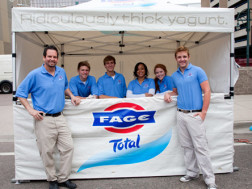 FAGE Yogurt booth handing out samples
